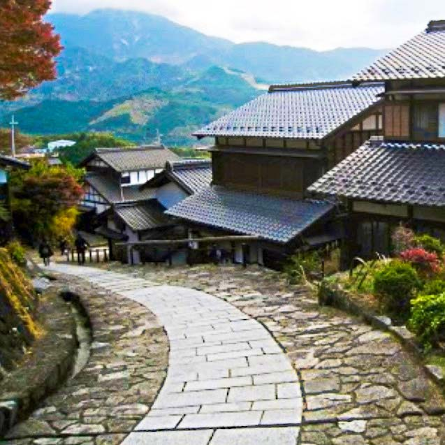 Sidewalk in Japan with houses along the side
