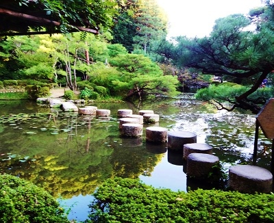 Pond with stepping stones