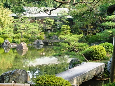 Pond with bridges and gardens