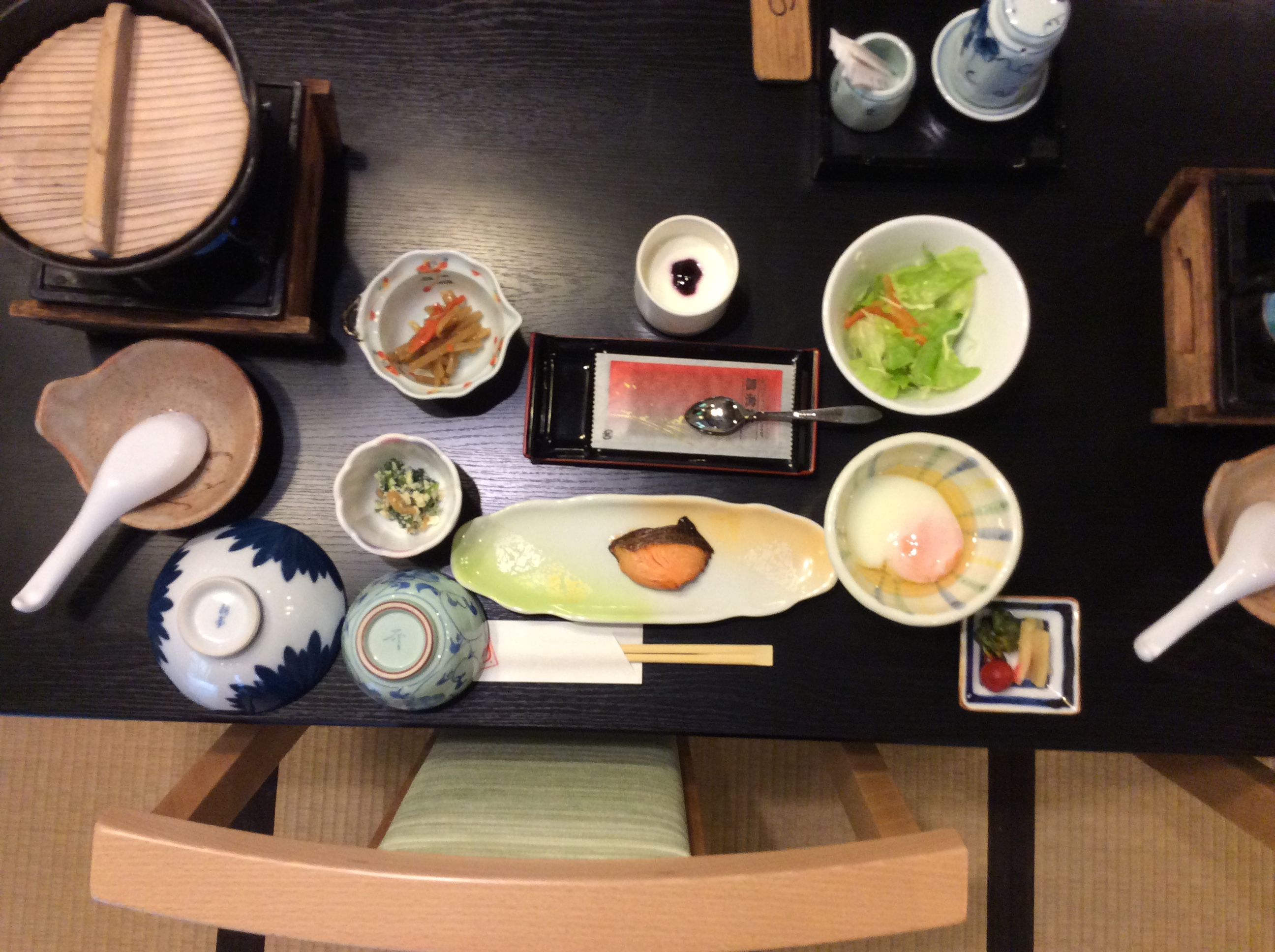 Japanese food set out on a table